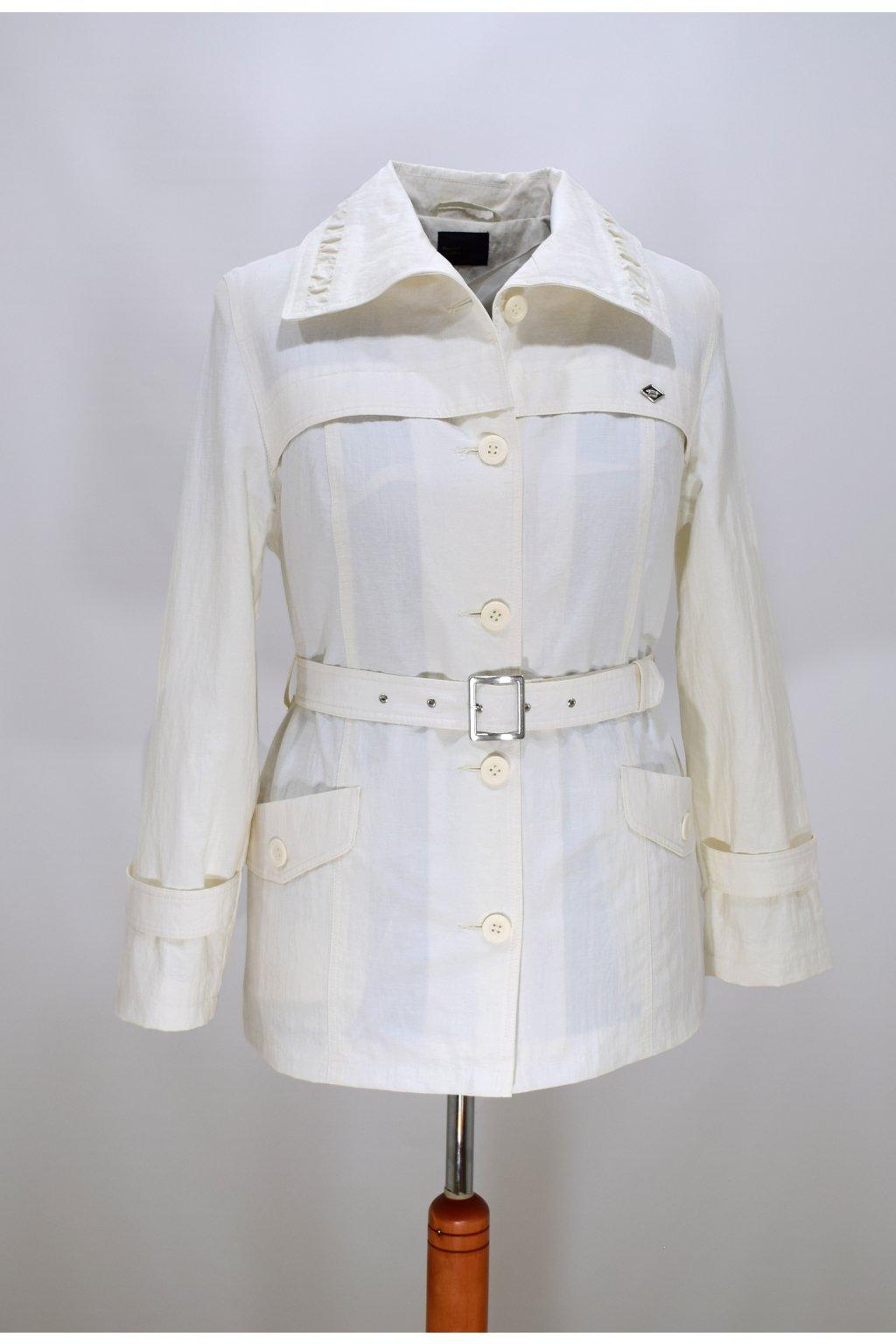 Dámský jarní bílý kabátek Denisa nadměrné velikosti.
