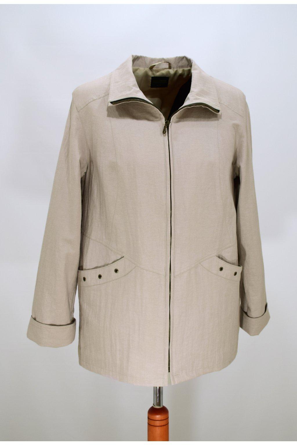 Dámská jarní béžová bunda Aranka nadměrné velikosti.