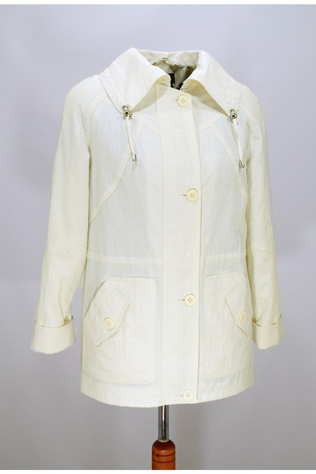 Dámská jarní bílá bunda Karmen nadměrné velikosti.
