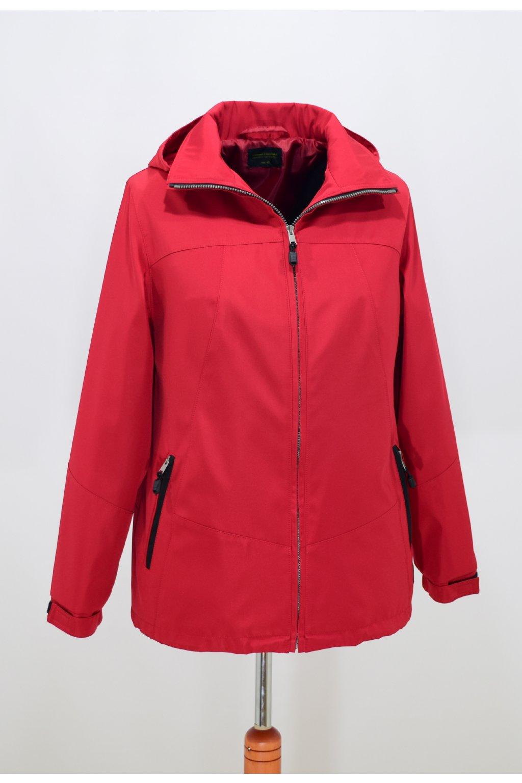 Dámská červená jarní bunda Angela nadměrné velikosti.