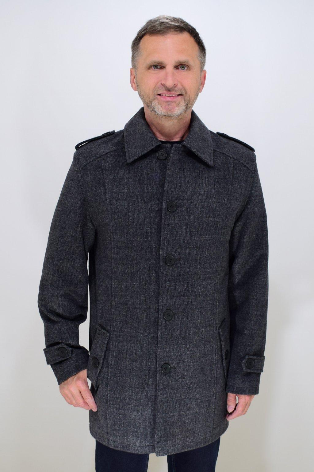Pánský šedý flaušový kabát Šimon nadměrné velikosti.