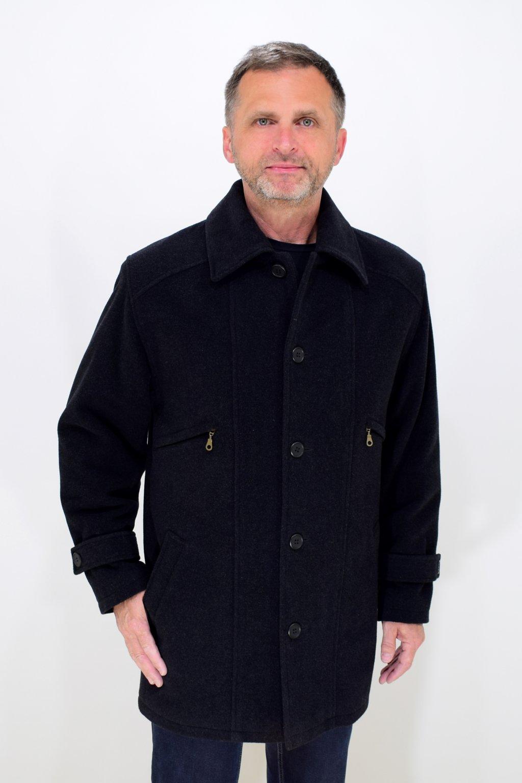 Pánský zimní flaušový kabát Leoš nadměrné velikosti.