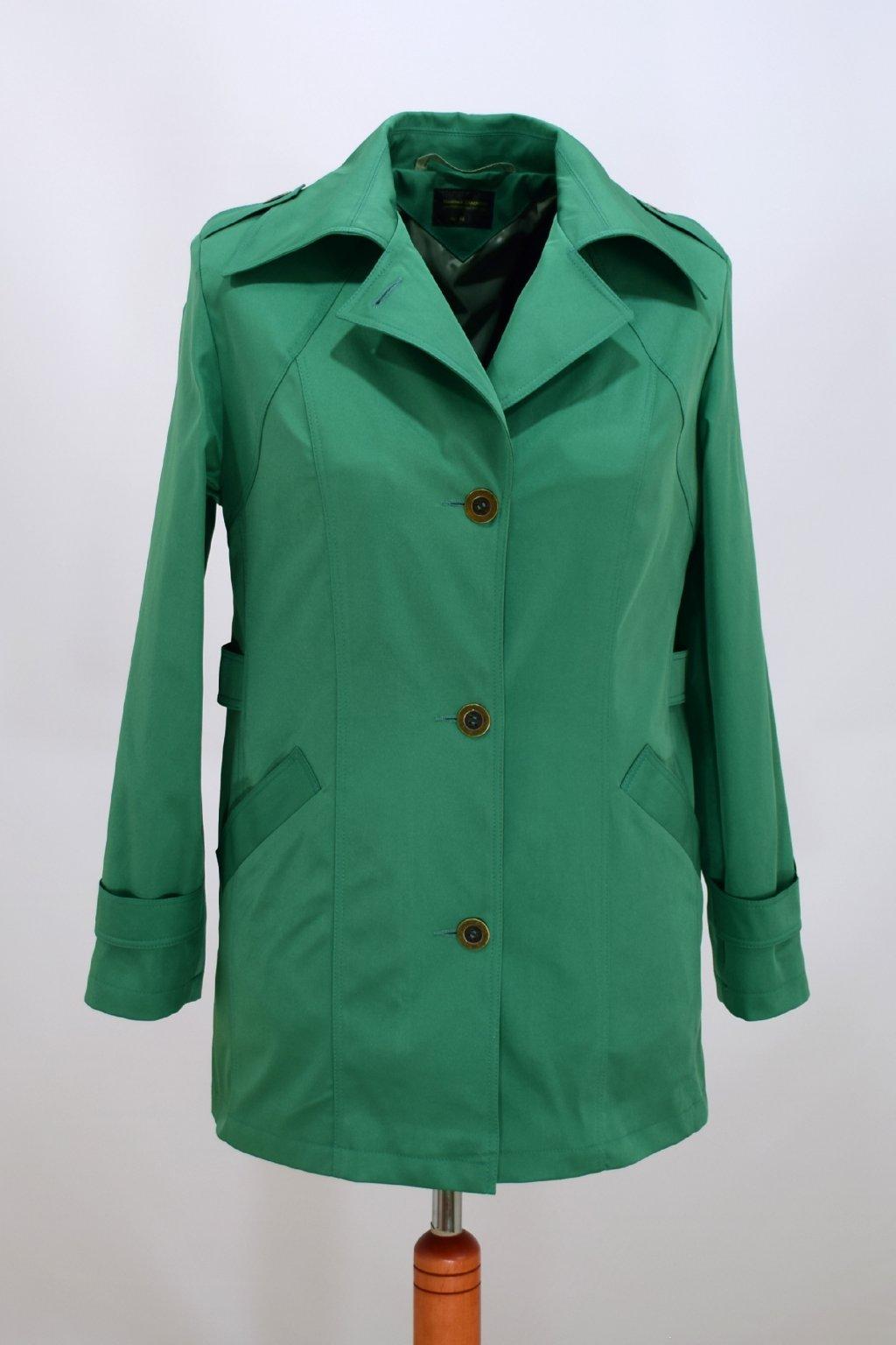 Dámský zelený jarní kabátek Klára nadměrné velikosti.