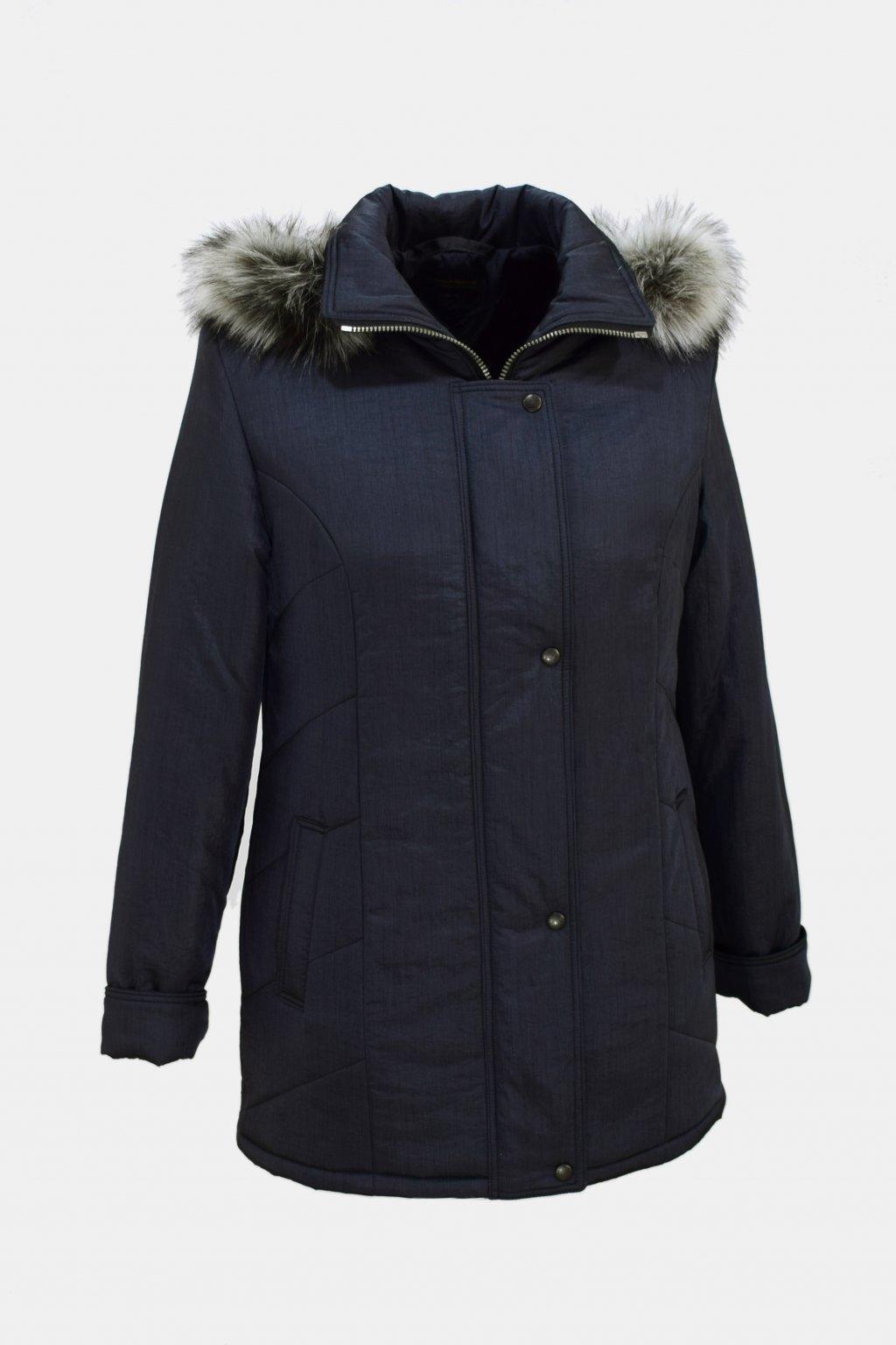 Dámská šedá krešovaná zimní bunda Andrea nadměrné velikosti