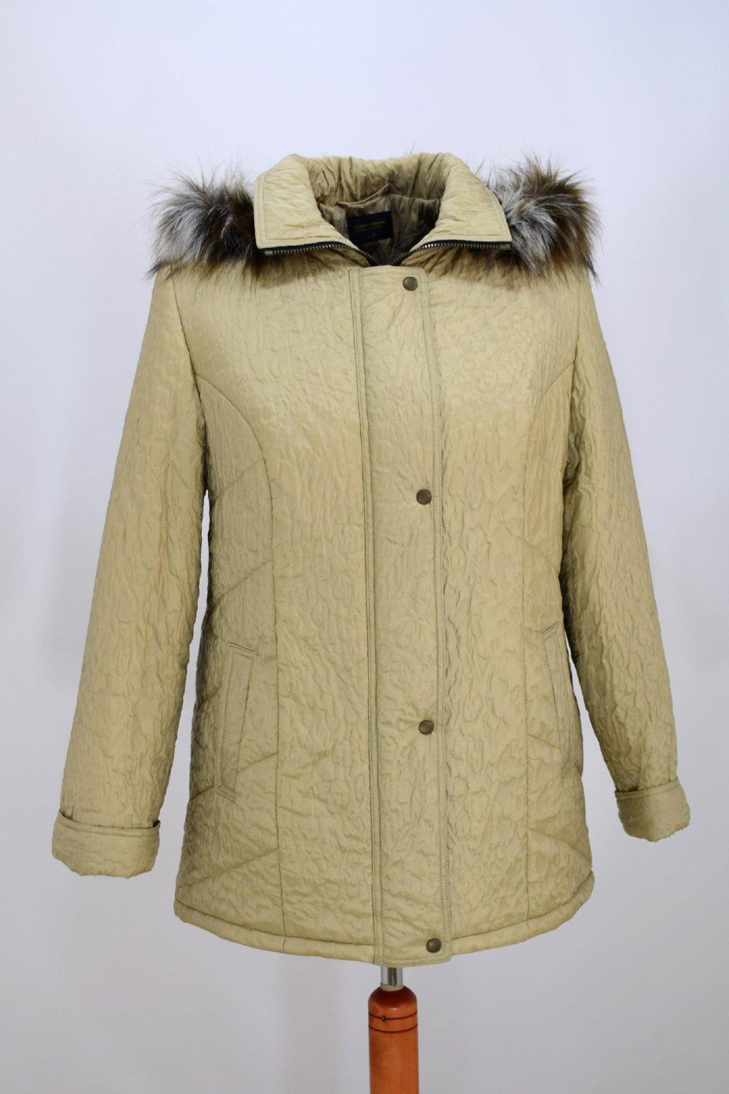 Dámská béžová zimní bunda Alena nadměrné velikosti