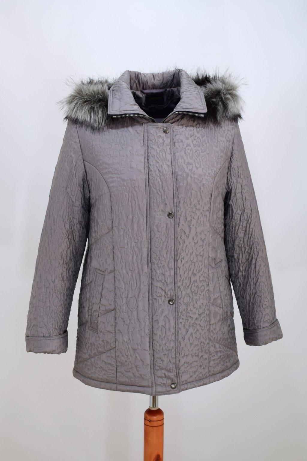 Dámská šedá zimní bunda Alena nadměrné velikosti