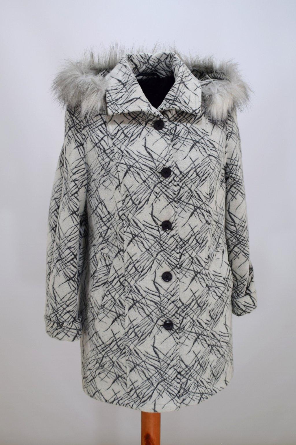 Dámský šedobílý zimní kabát Věra nadměrné velikosti.