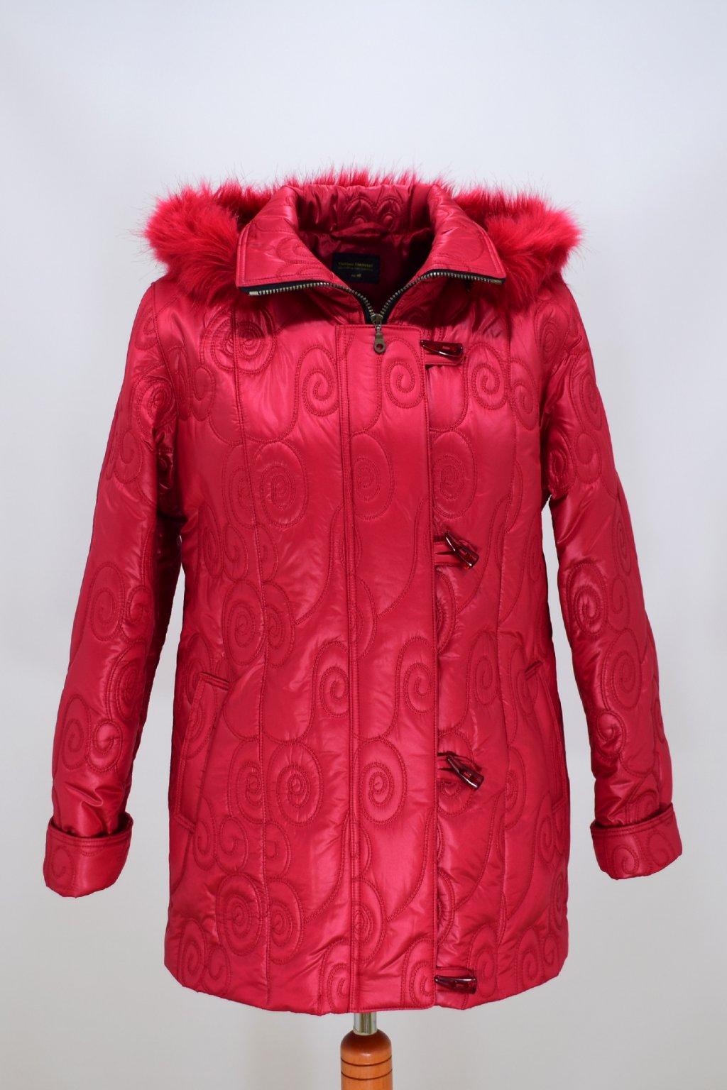 Dámská červená zimní bunda Monika nadměrné velikosti
