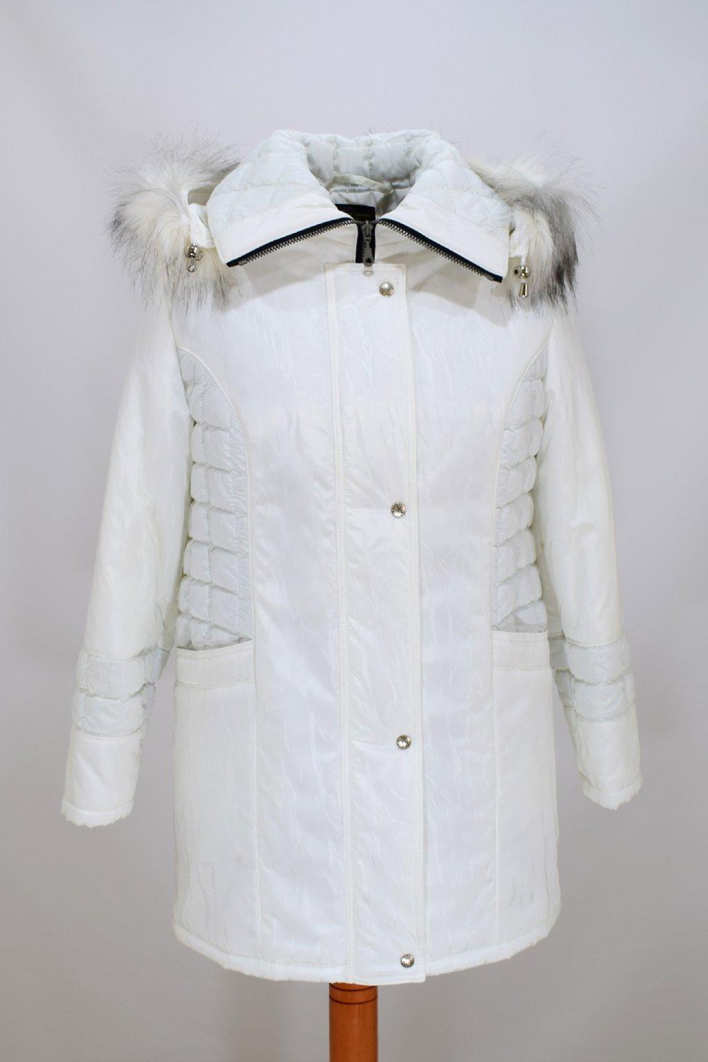 Dámská zimní bílá bunda Tereza nadměrné velikosti
