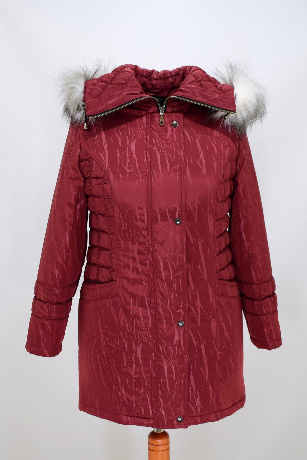 Dámská vínová zimní bunda Tereza nadměrné velikosti