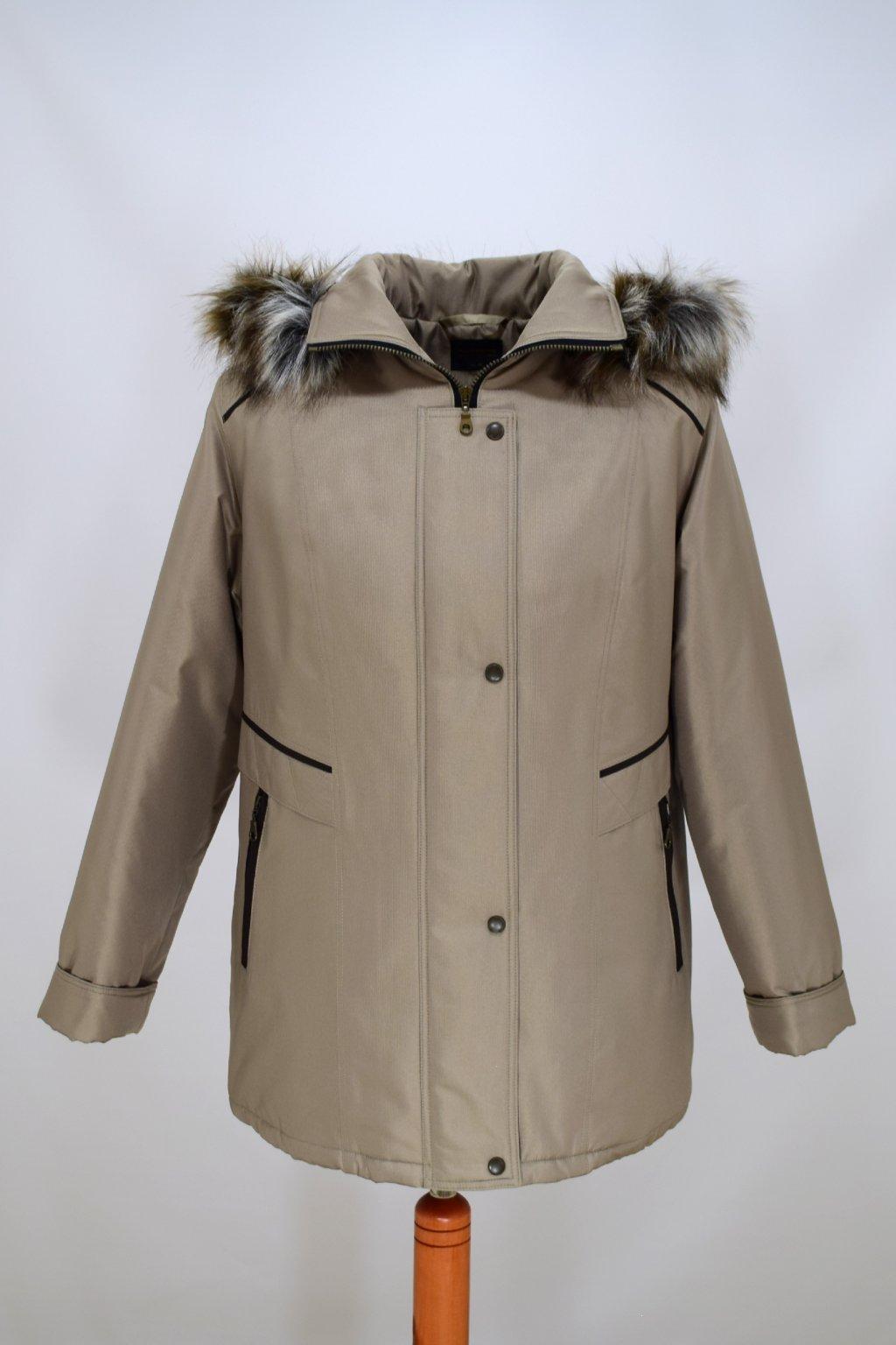 Dámská béžová zimní bunda Jitka nadměrné velikosti