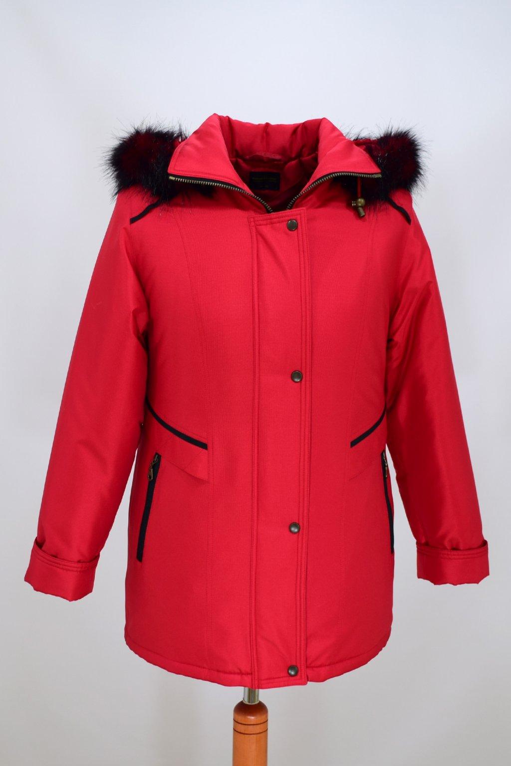 Dámská červená zimní bunda Jitka nadměrné velikosti