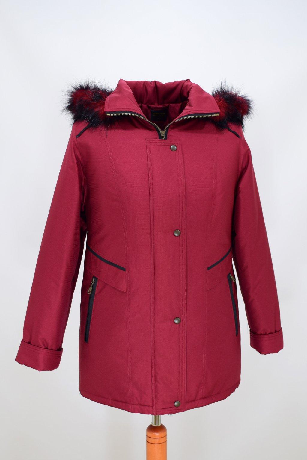 Dámská vínová zimní bunda Jitka nadměrné velikosti