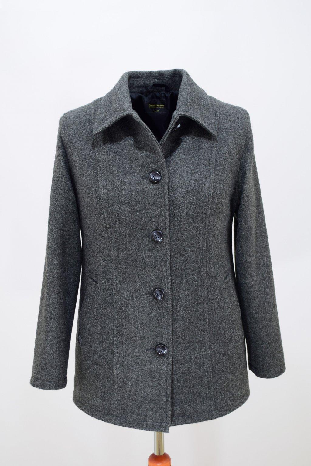 Dámský tmavě šedý přechodový kabátek Dorka nadměrné velikosti.