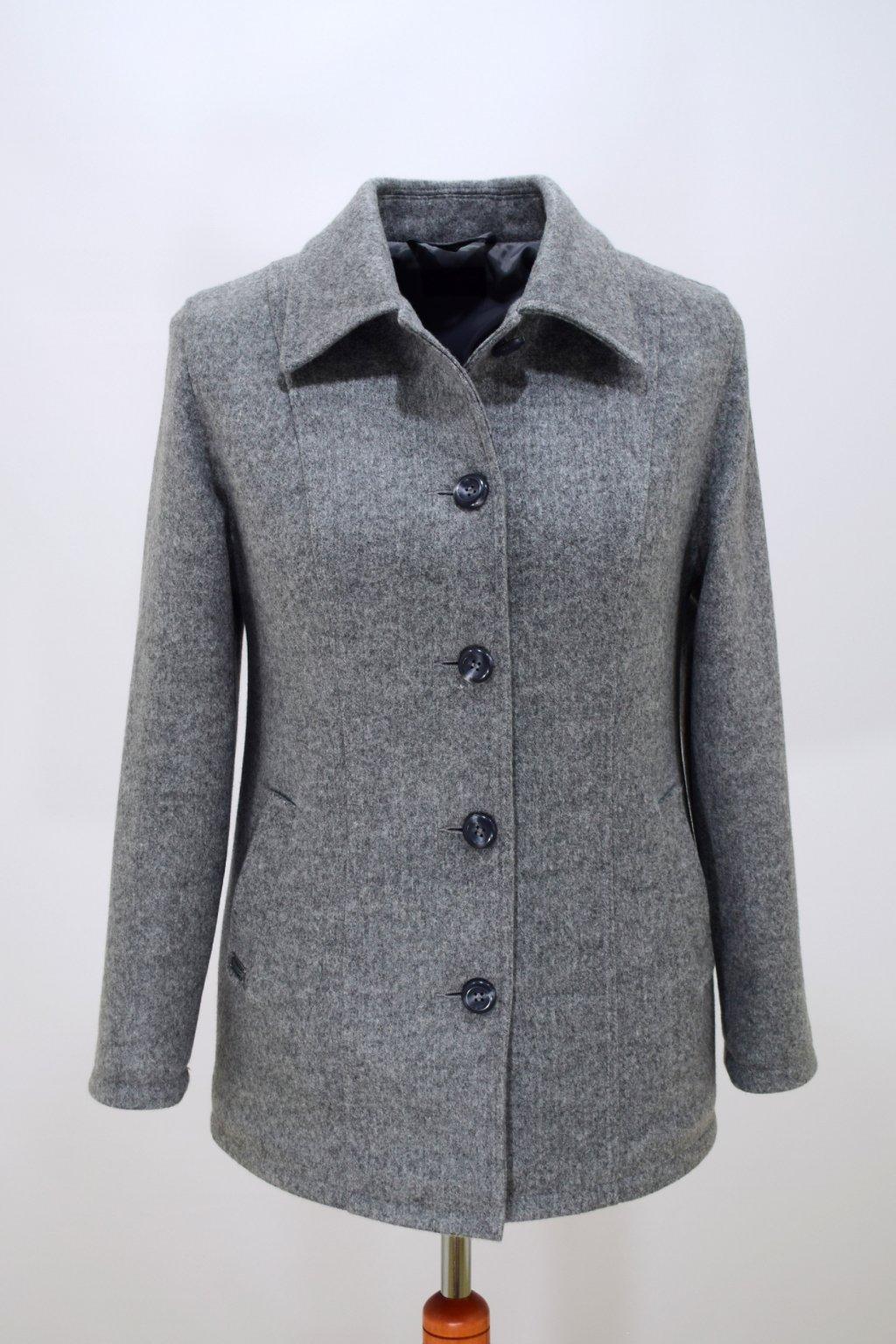Dámský světle šedý přechodový kabátek Dorka nadměrné velikosti.