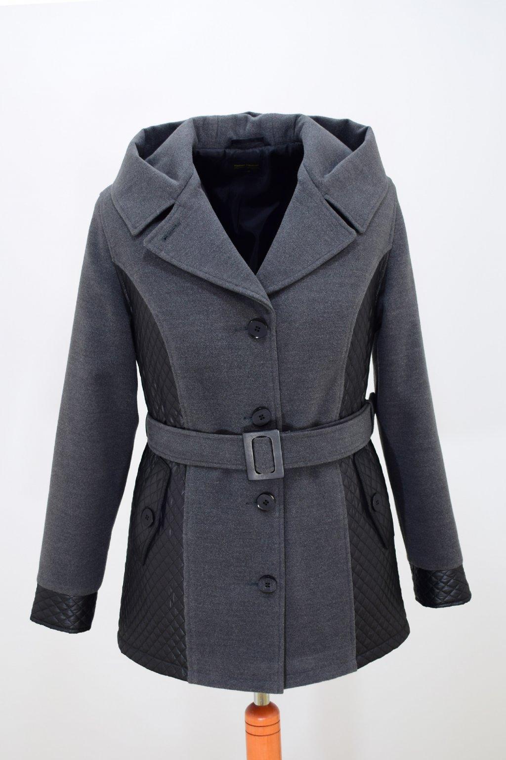 Dámský šedý zimní kabátek Aneta nadměrné velikosti.