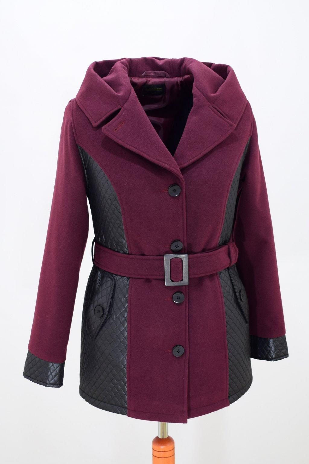 Dámský vínový zimní kabátek Aneta nadměrné velikosti.