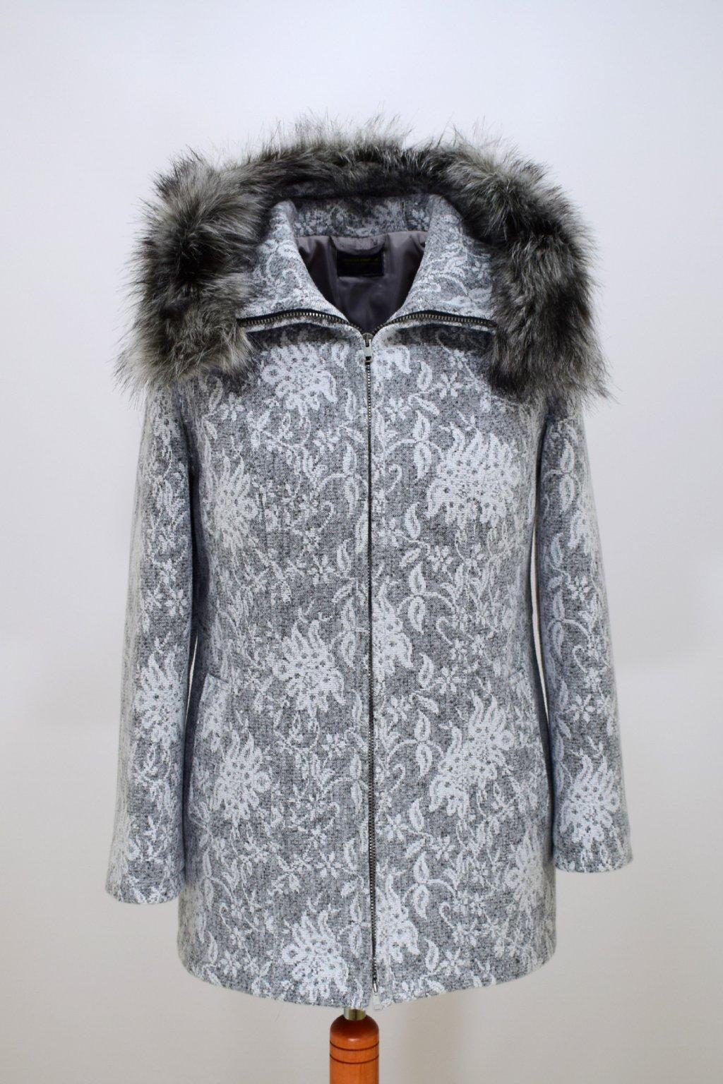 Dámský šedobílí zimní kabátek Žaneta vzor nadměrné velikosti.