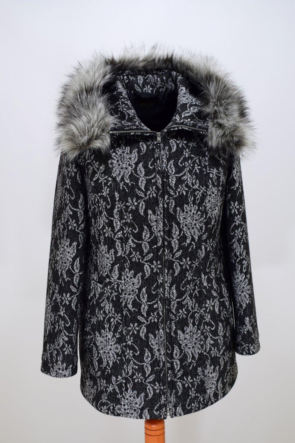 Dámský černošedý zimní kabátek Žaneta vzor nadměrné velikosti.