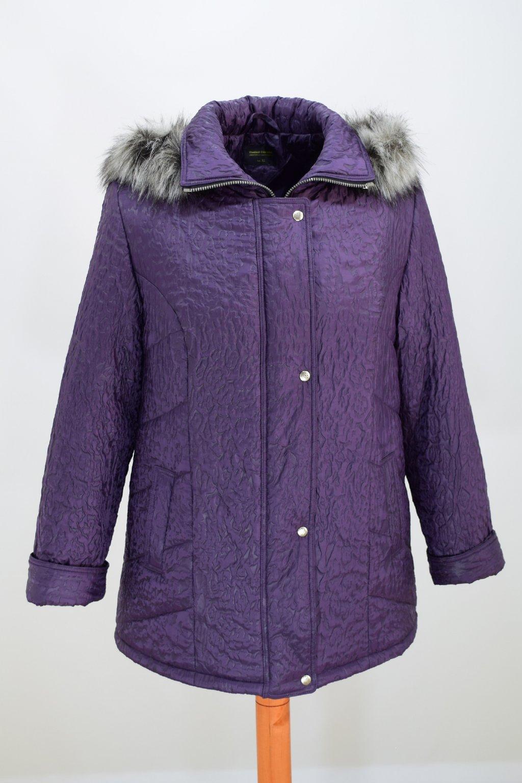 Dámská fialová zimní bunda Alena nadměrné velikosti