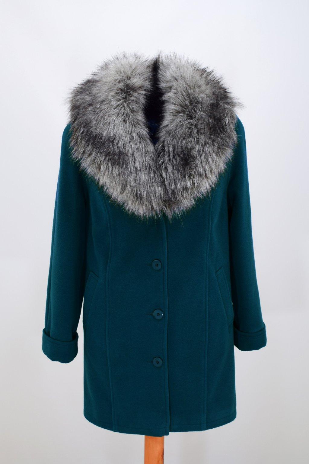 Dámský zimní petrolový kabát Táňa nadměrné velikosti.