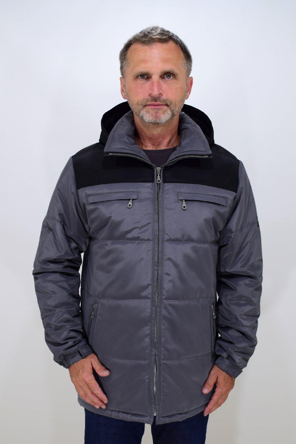 Pánská šedá zimní bunda Filip nadměrné velikosti