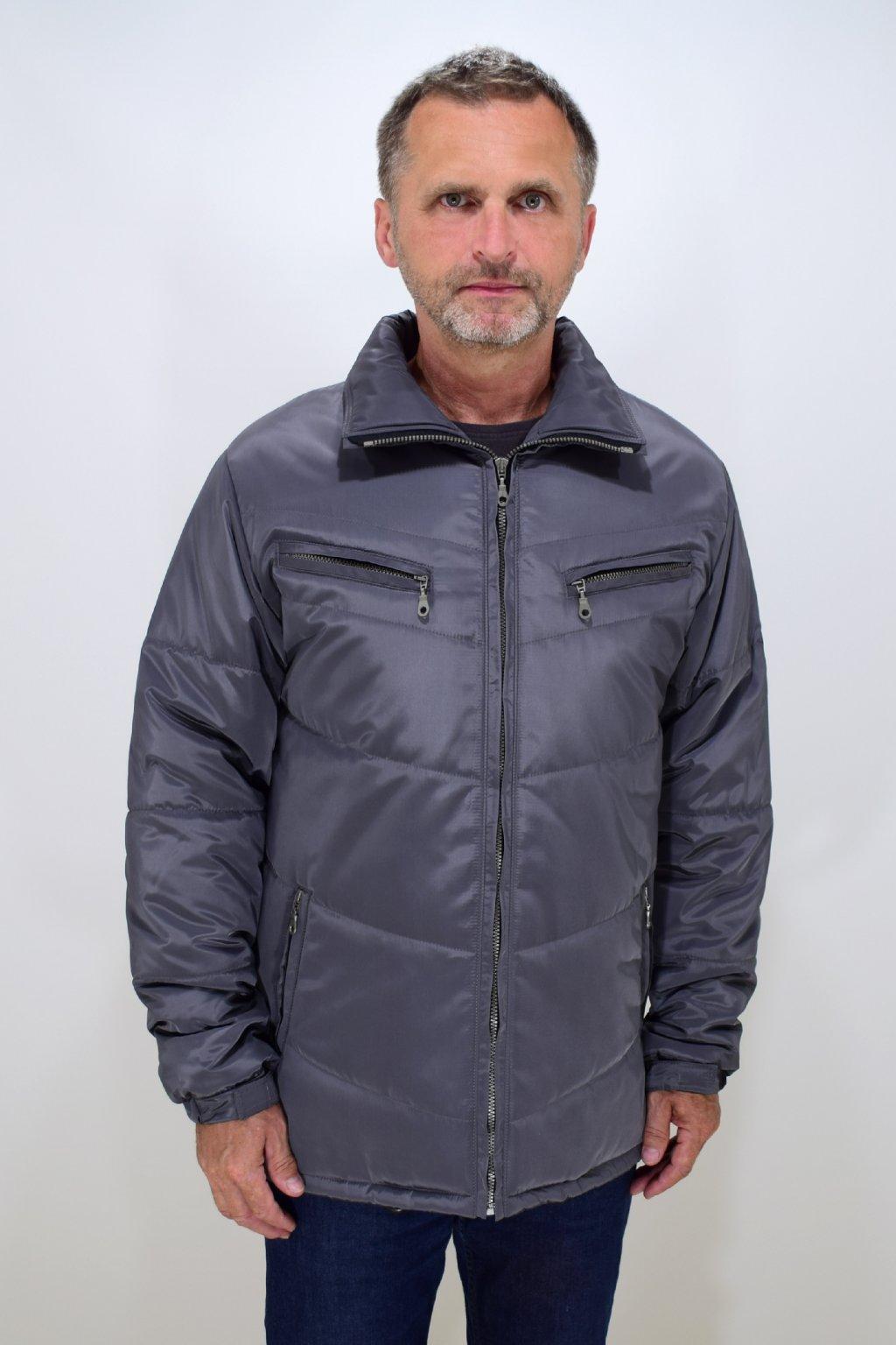 Pánská šedá zimní bunda Vojta nadměrné velikosti