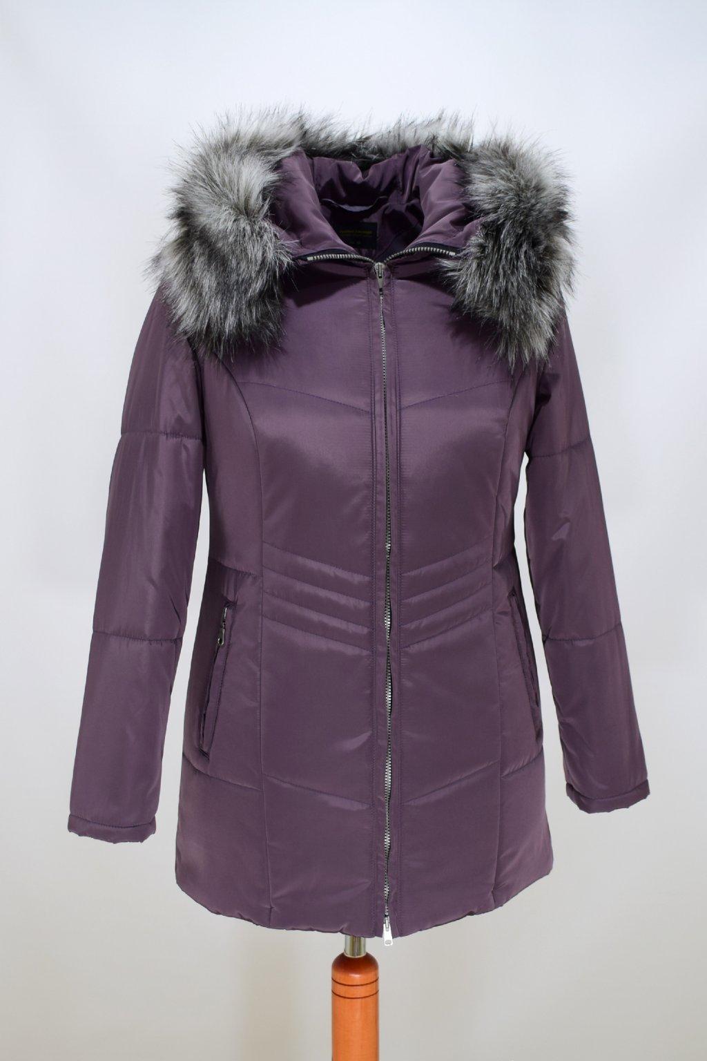 Dámská lila zimní bunda Judita nadměrné velikosti.
