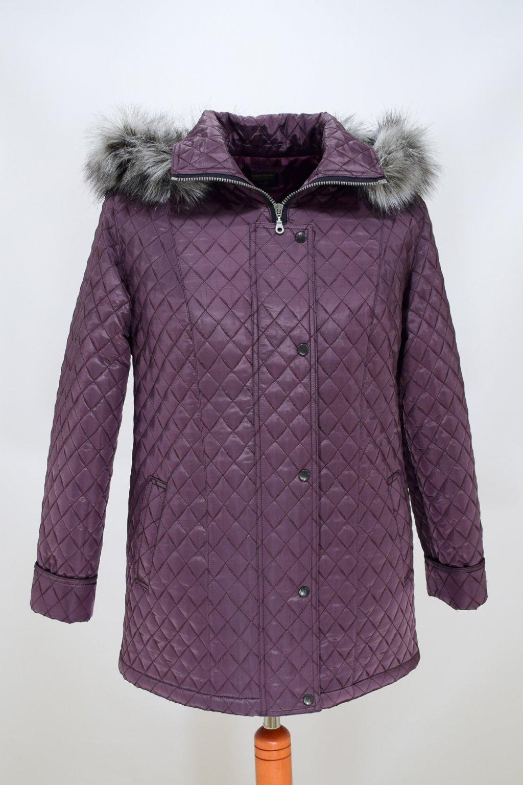 Dámská zimní bunda Krista baklažán nadměrné velikosti.