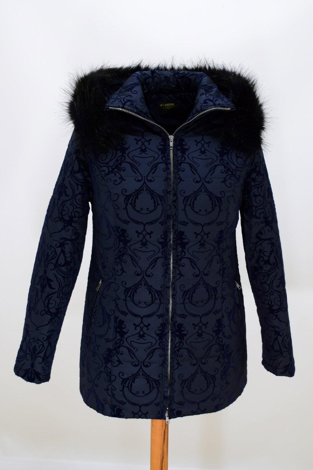 Dámská modrá zimní bunda Megan nadměrné velikosti.