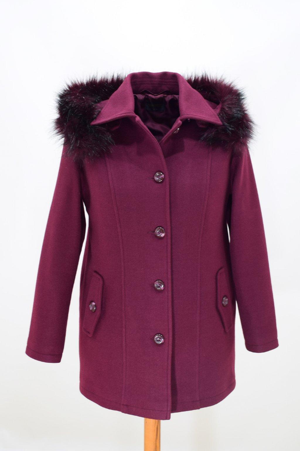 Dámský vínový zimní kabát Alice nadměrné velikosti.