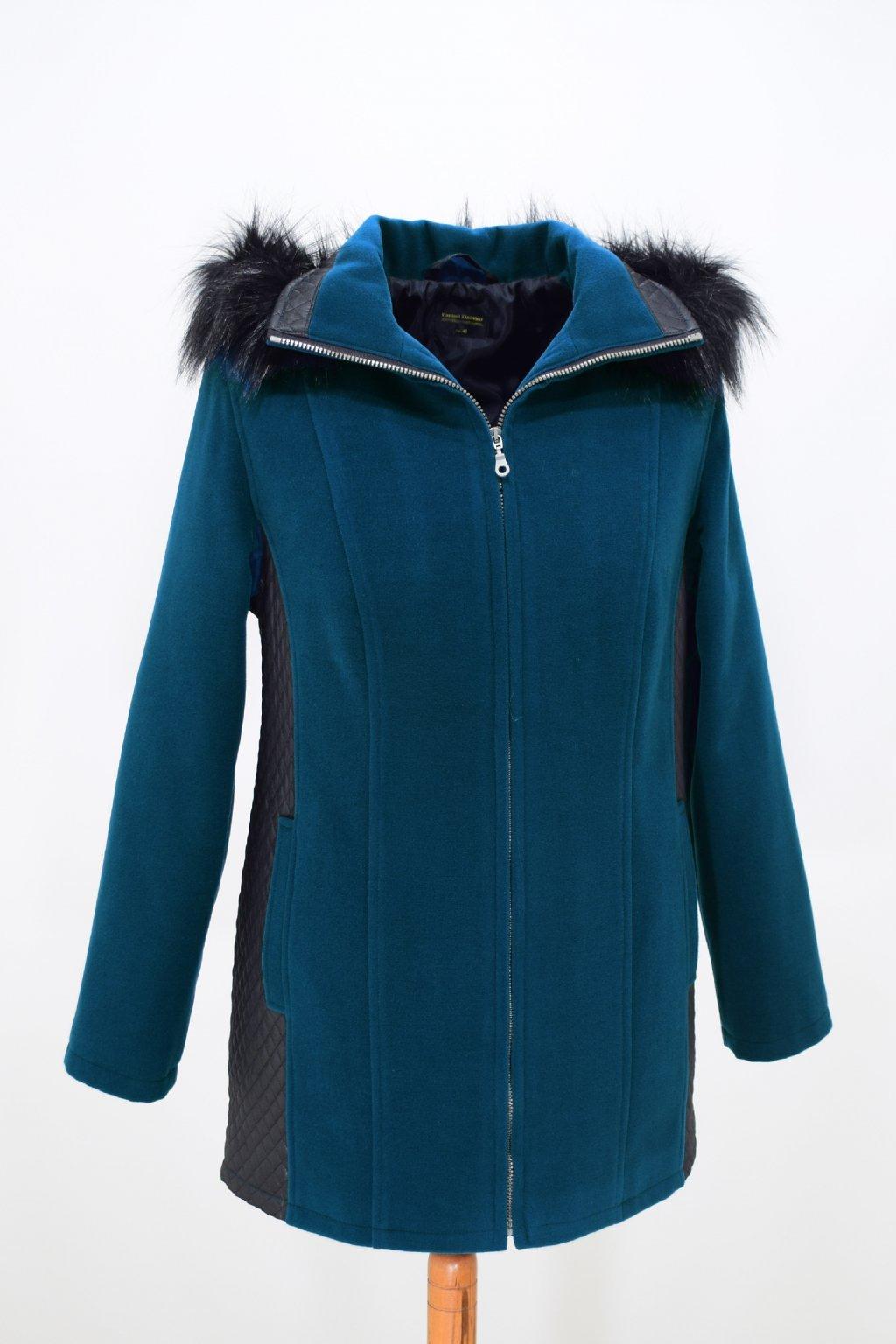 Dámský petrolový zimní kabátek Frída nadměrné velikosti.