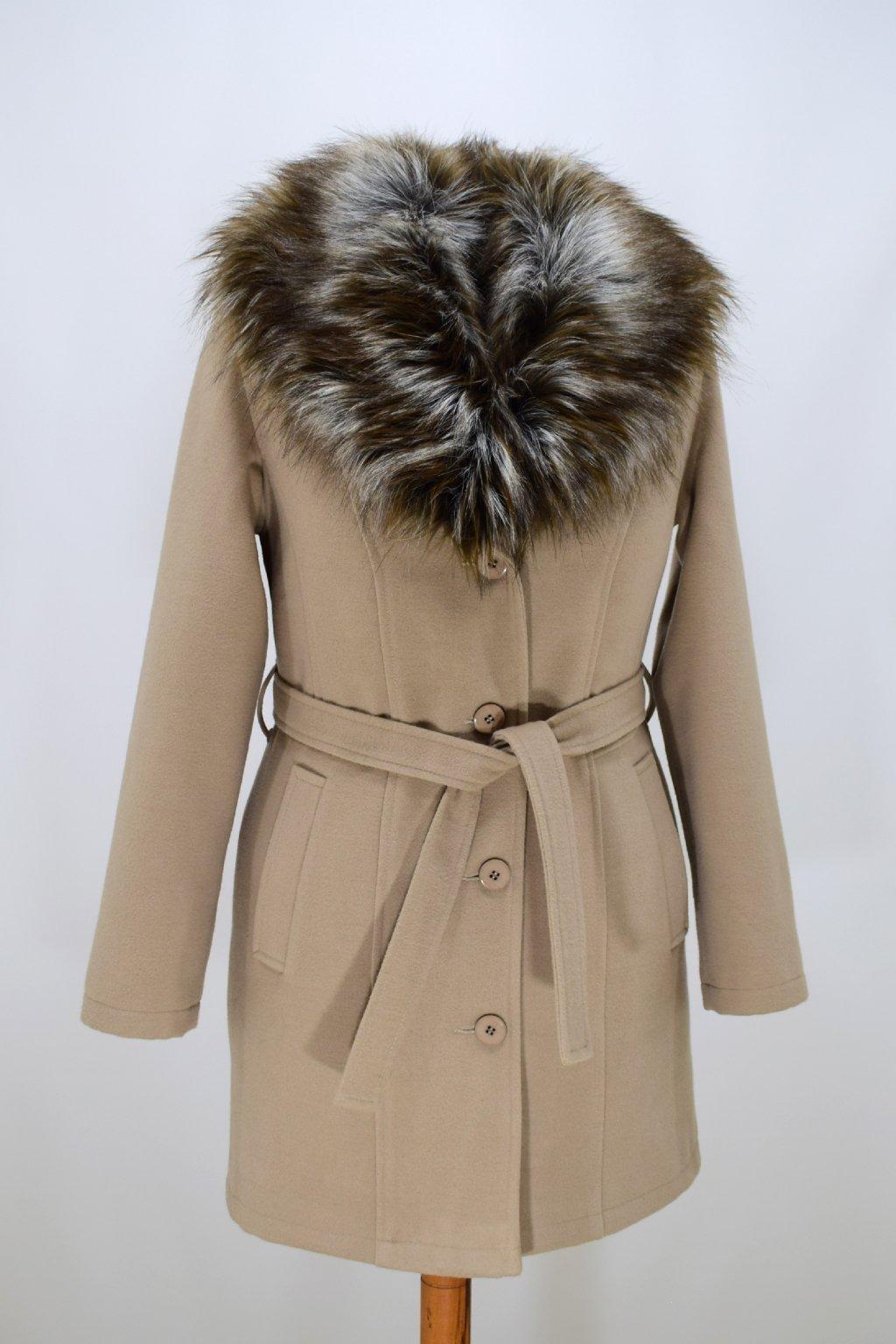 Dámský béžový zimní kabát s kožešinou Julie.