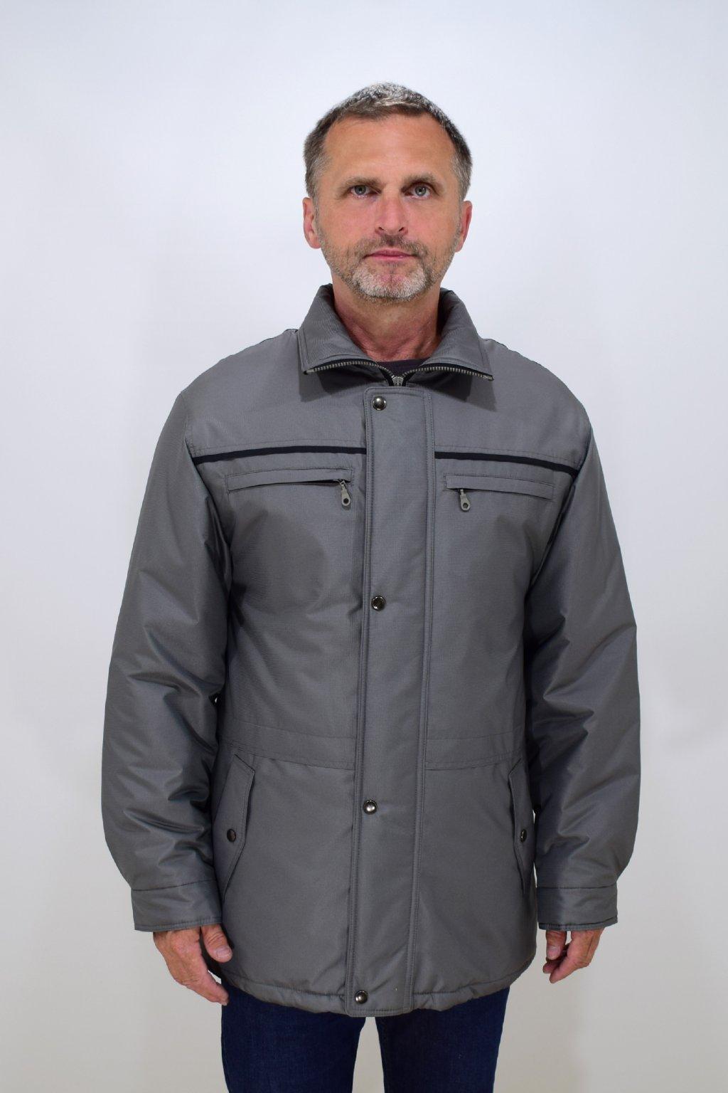 Pánská zimní šedá bunda Karel nadměrné velikosti