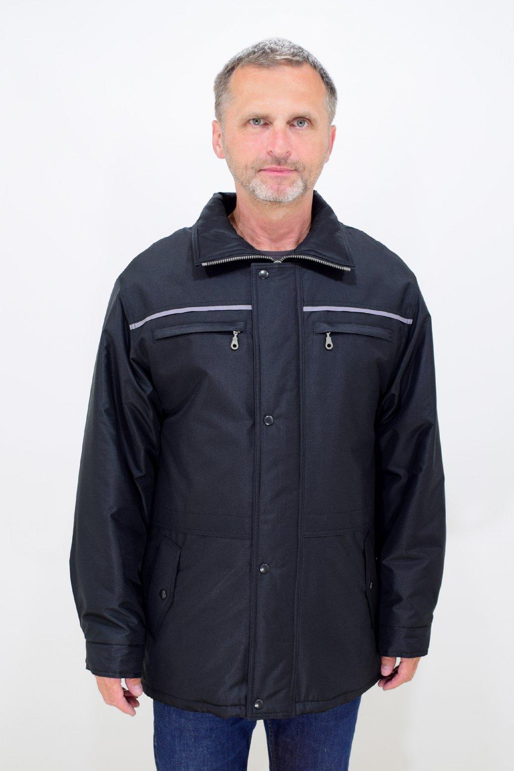 Pánská zimní černá bunda Karel nadměrné velikosti