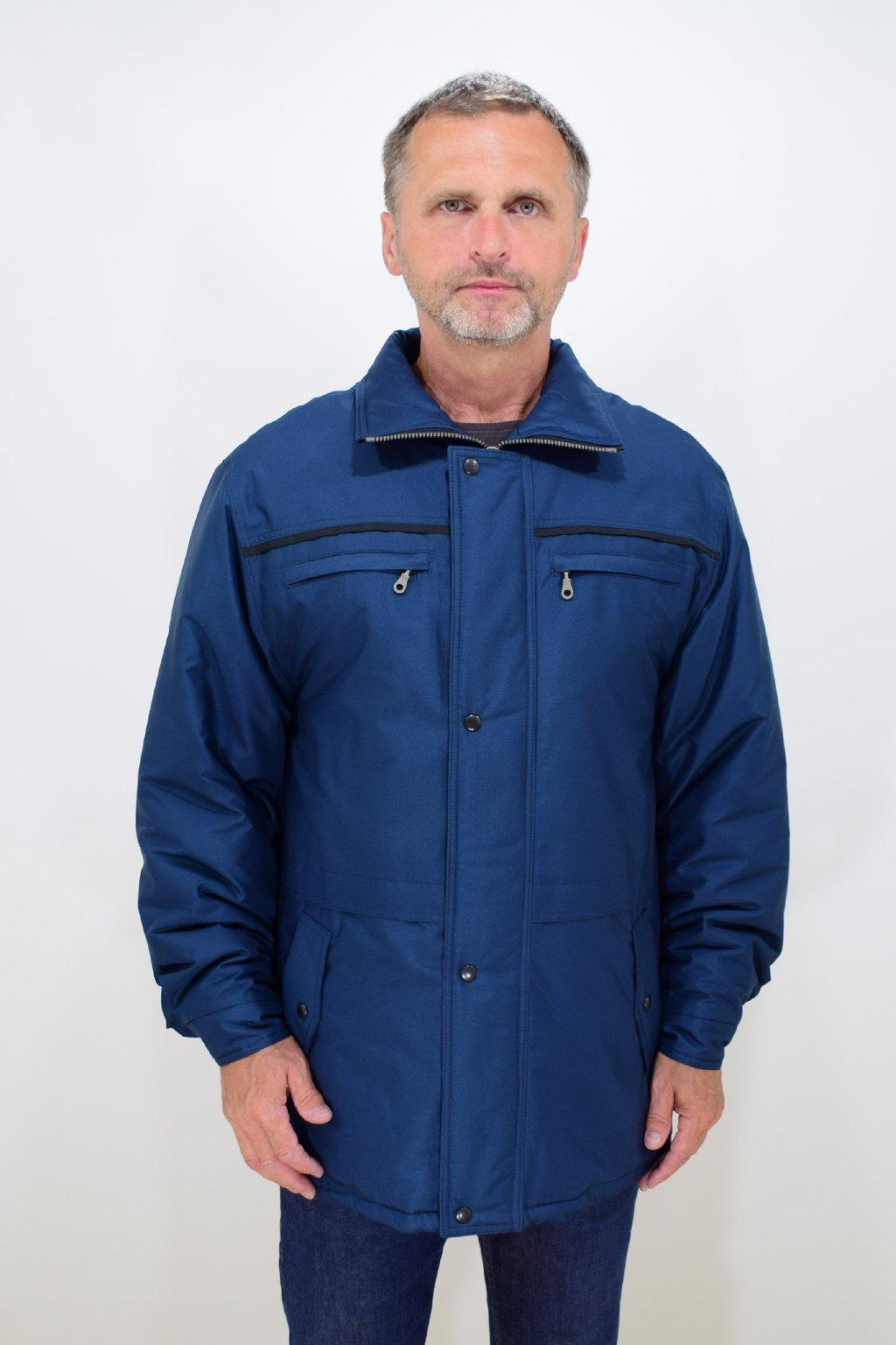 Pánská zimní modrá bunda Karel nadměrné velikosti