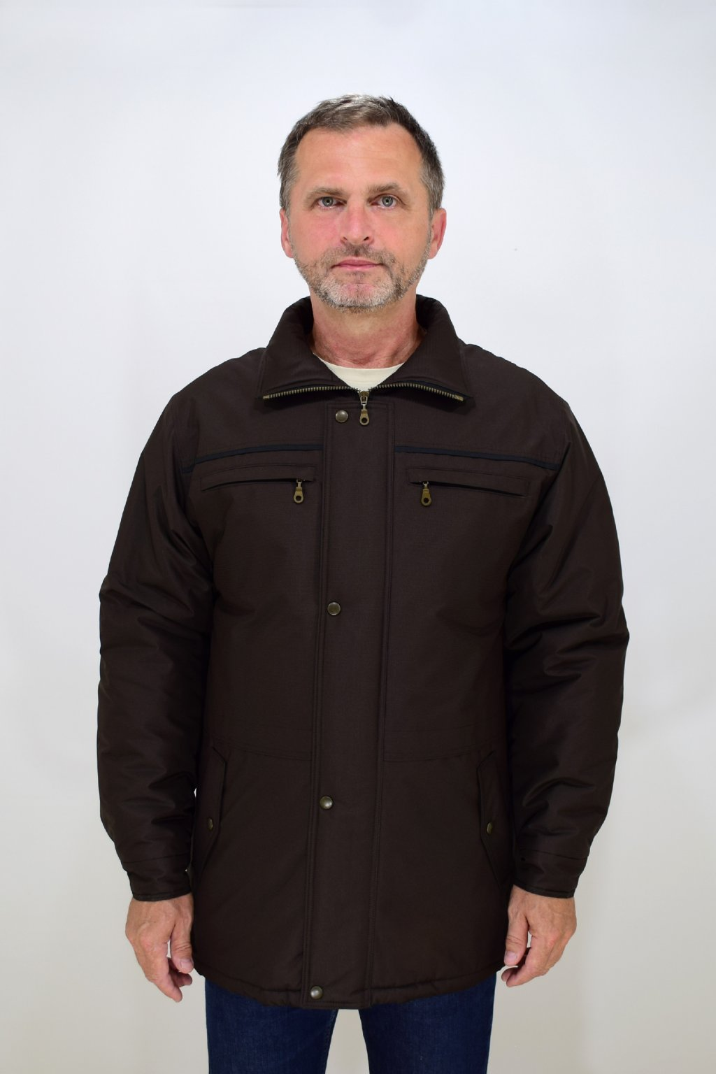 Pánská zimní hnědá bunda Karel nadměrné velikosti