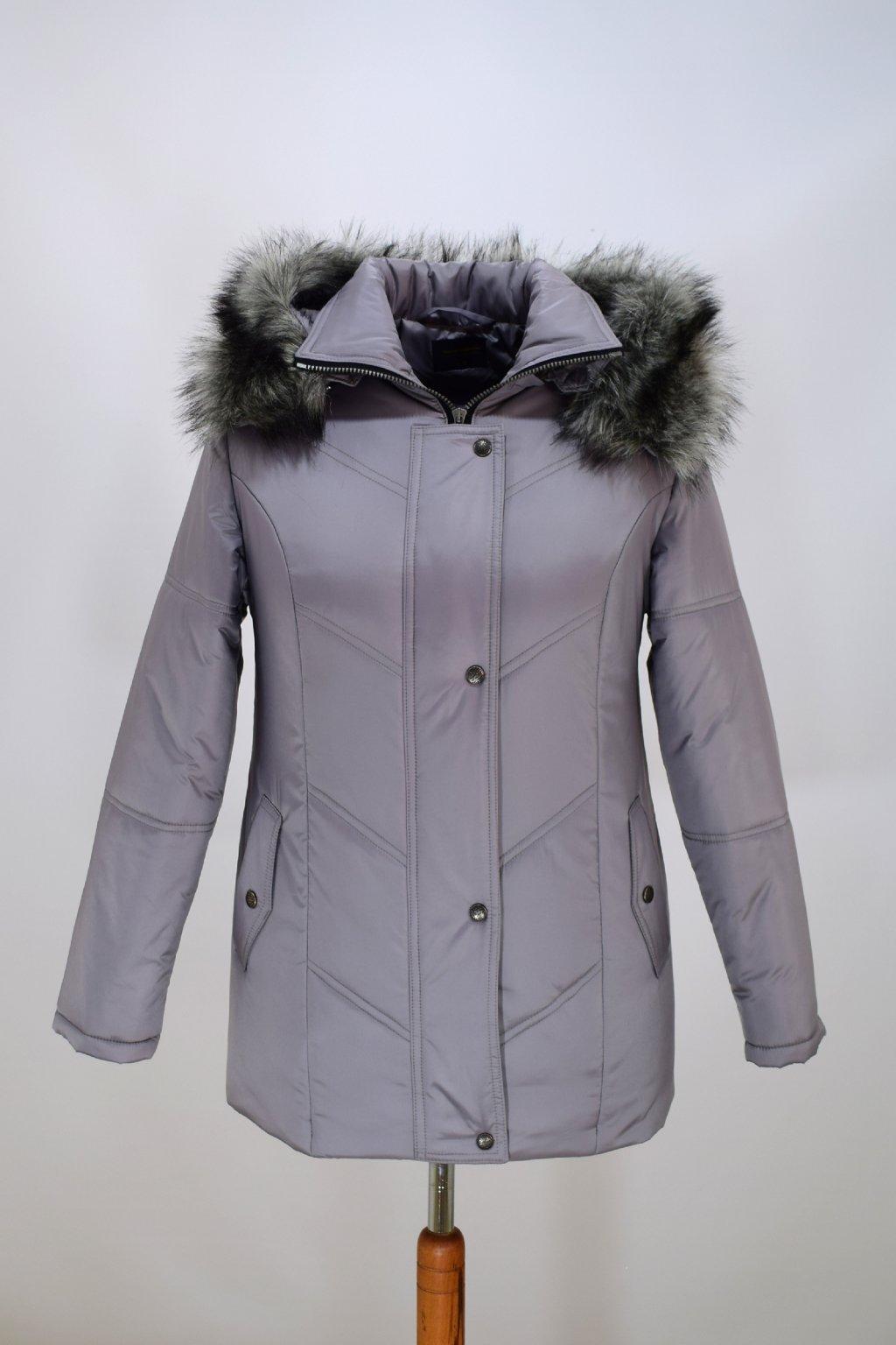 Dámská šedá zimní bunda Saša nadměrné velikosti.