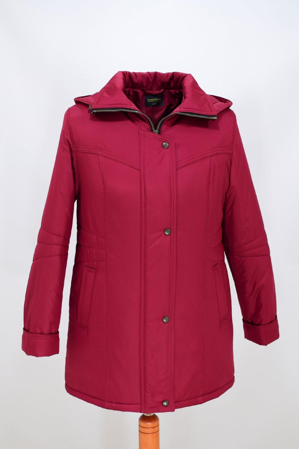 Dámská zimní bunda Kamila vínová nadměrné velikosti