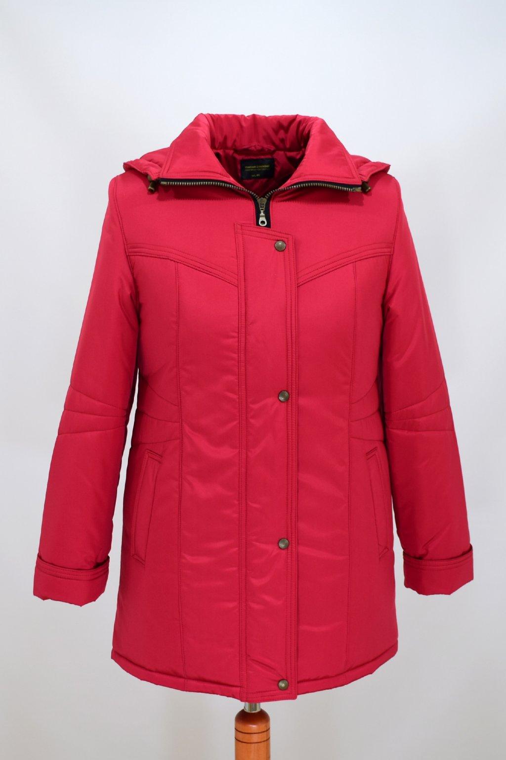 Dámská zimní bunda Kamila červená nadměrné velikosti