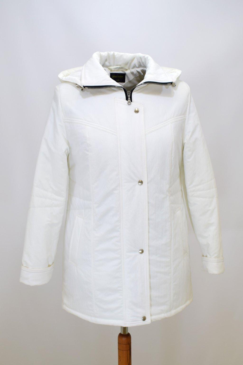 Dámská zimní bunda Kamila krešovaná bílá nadměrné velikosti