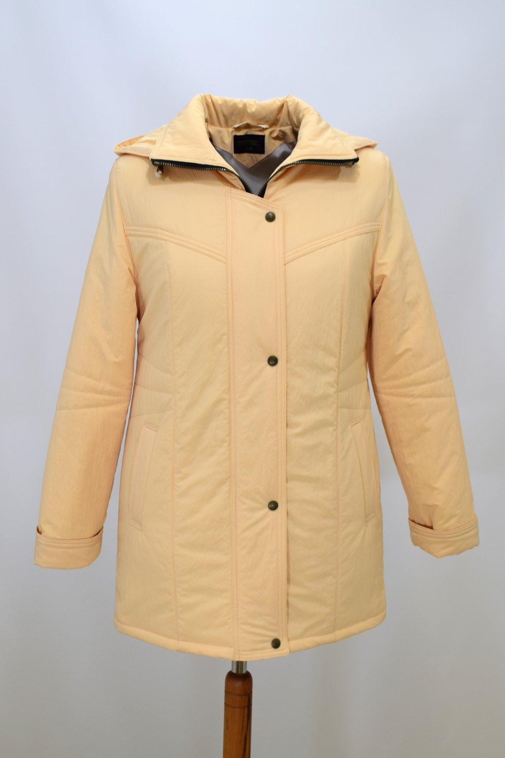 Dámská zimní bunda Kamila krešovaná meruňková nadměrné velikosti