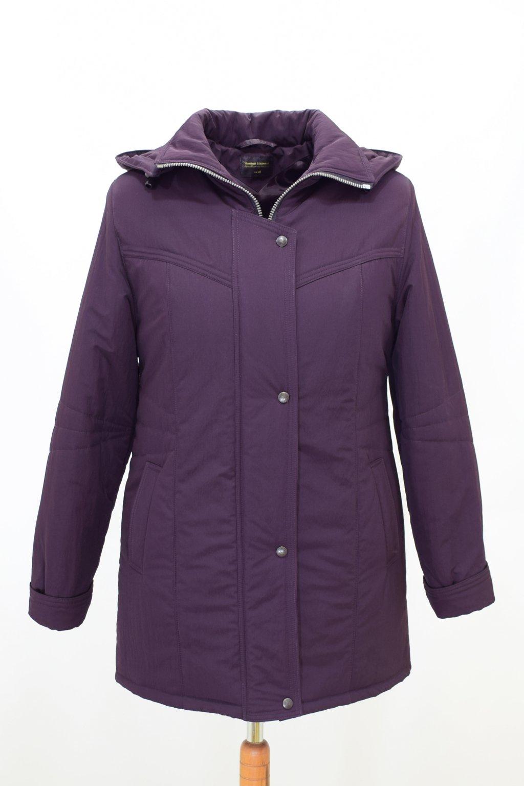 Dámská zimní bunda Kamila krešovaná baklažán nadměrné velikosti