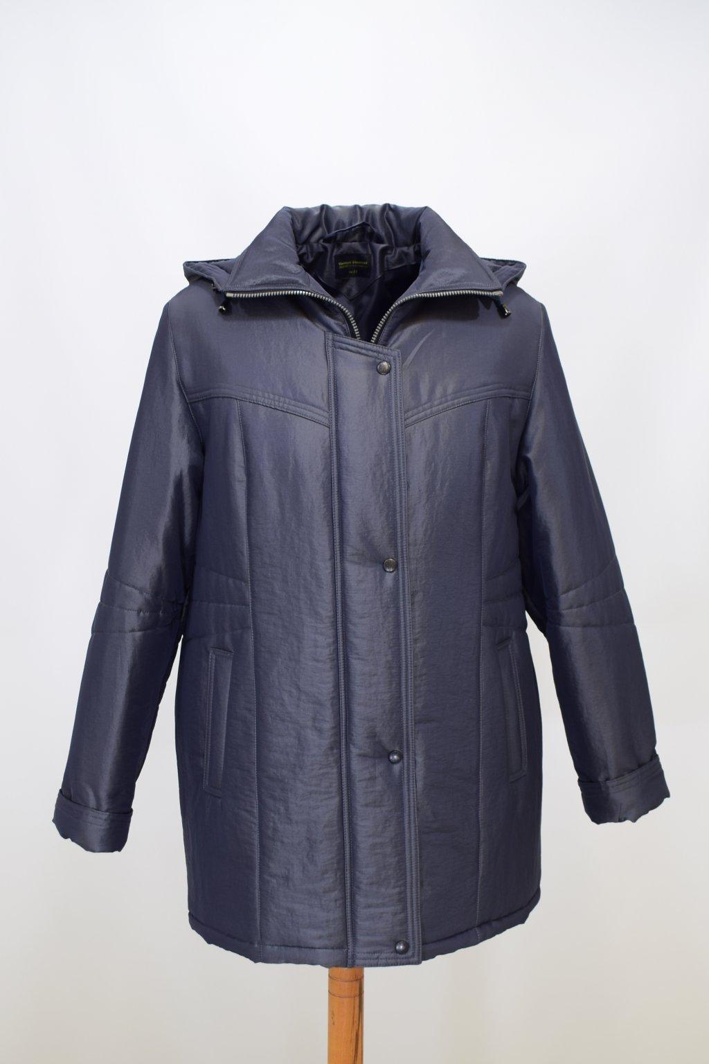 Dámská zimní bunda Kamila krešovaná šedá nadměrné velikosti