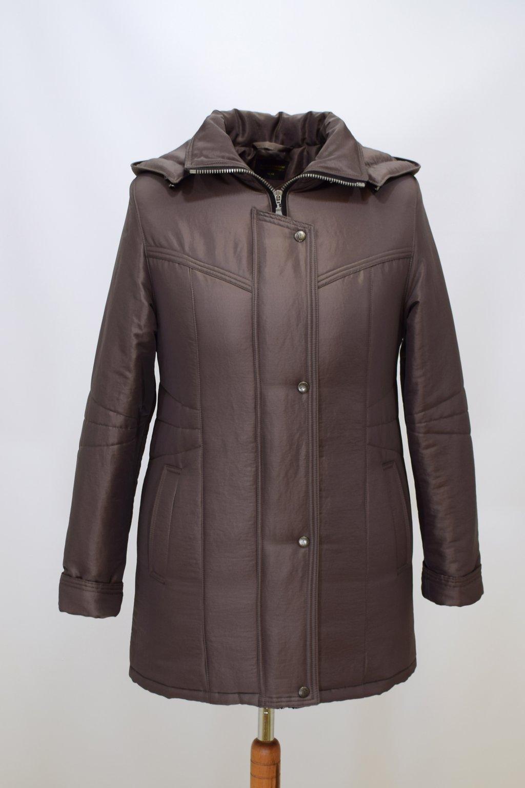 Dámská zimní bunda Kamila krešovaná oříšková nadměrné velikosti
