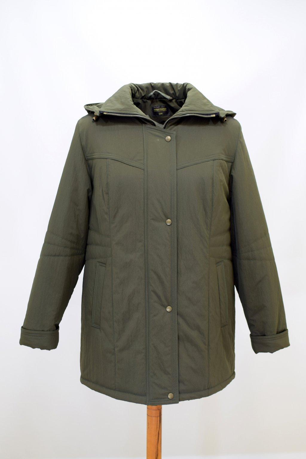 Dámská zimní bunda Kamila krešovaná zelená nadměrné velikosti