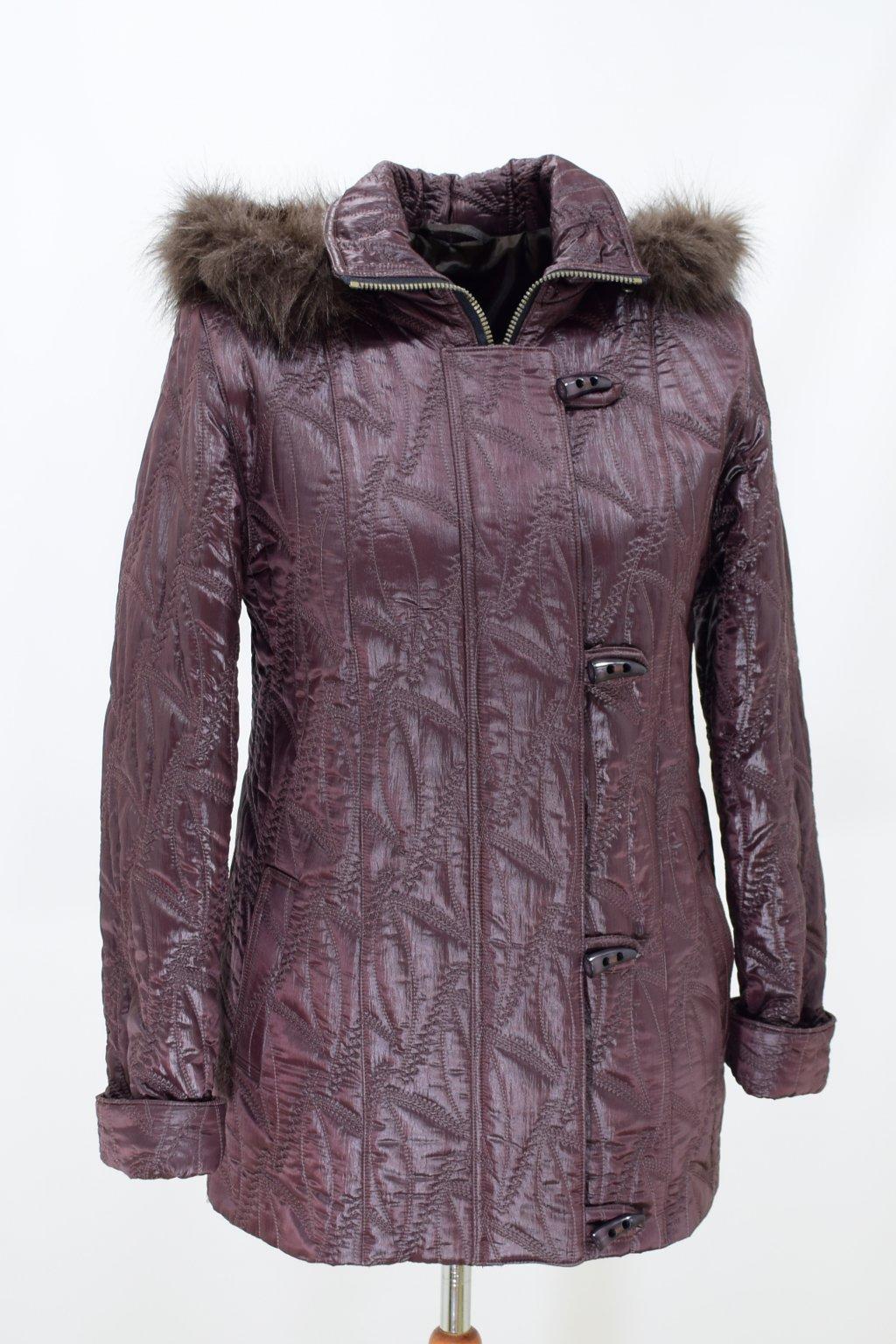 Dámská hnědá zimní bunda Monika nadměrné velikosti