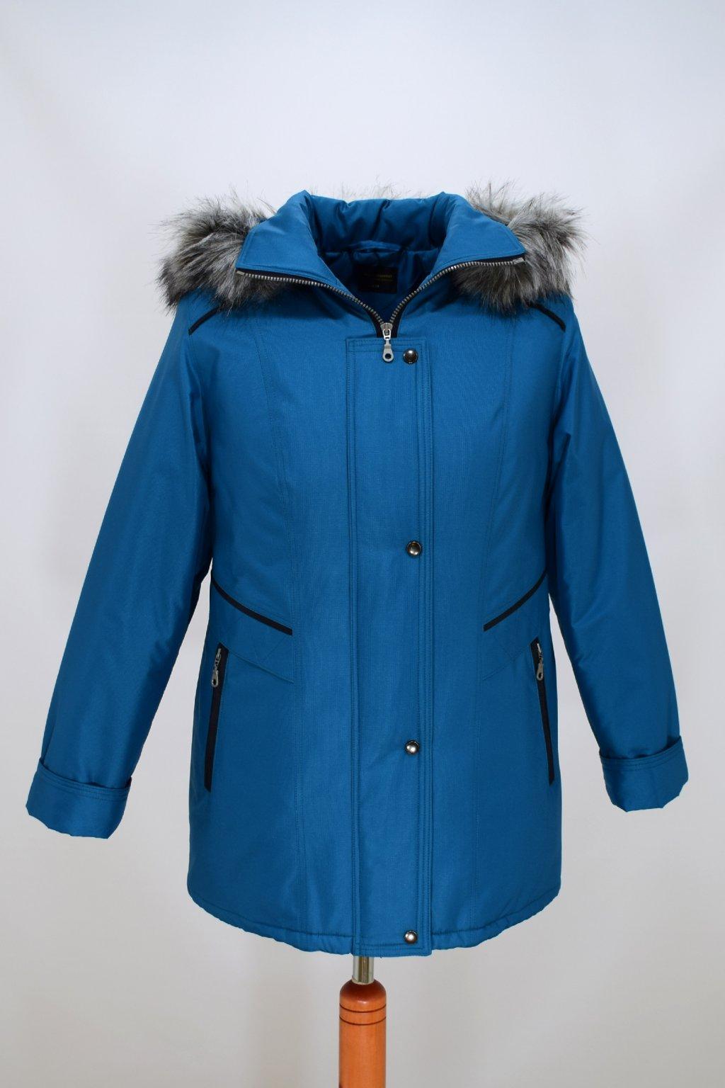 Dámská petrolová zimní bunda Jitka nadměrné velikosti
