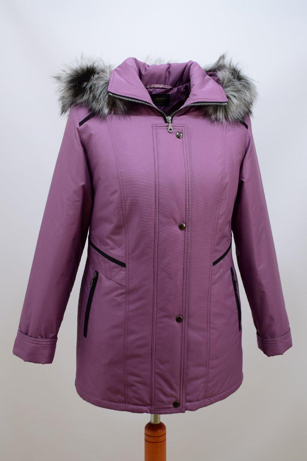 Dámská zimní bunda Jitka v barvě lila nadměrné velikosti
