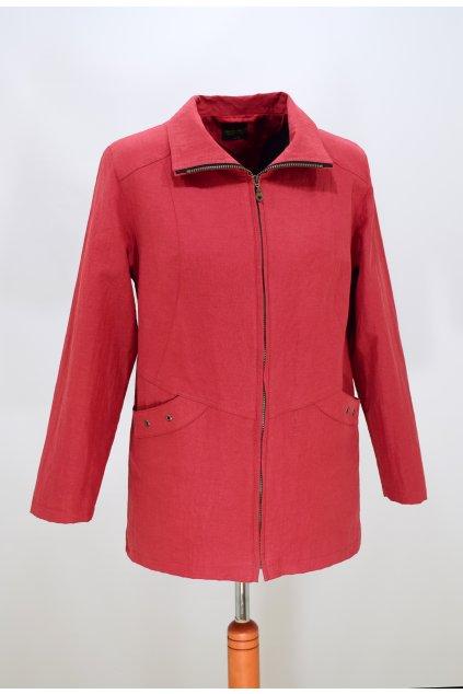 Dámská červená-jarní bunda Aranka nadměrné velikosti.